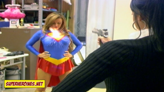 Bullets bouncing off Supergirls chest