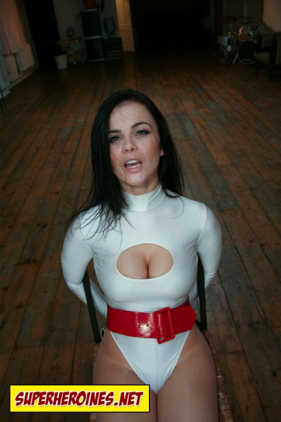 Superheroine Miss Power begging for her life