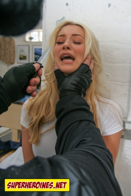 Danica Thrall being held by throat